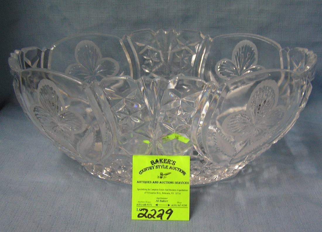 Large crystal oval shaped serving bowl