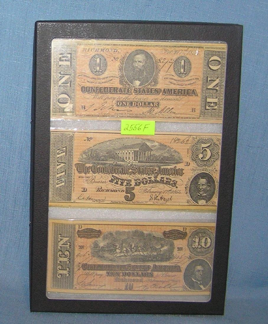 Group of 3 Civil War style confederate notes