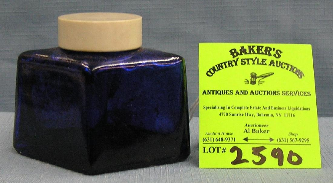 Early cobalt blue Parker fountain pen ink bottle