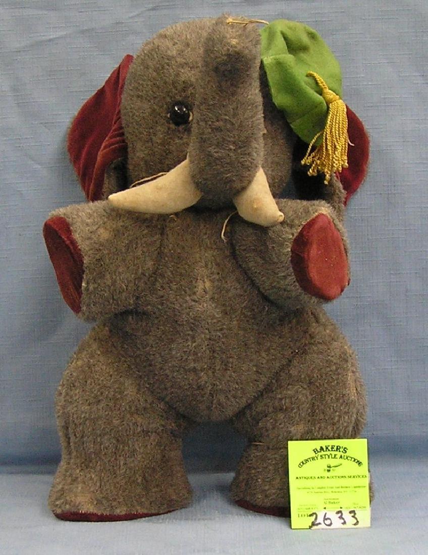 Antique elephant straw stuffed toy