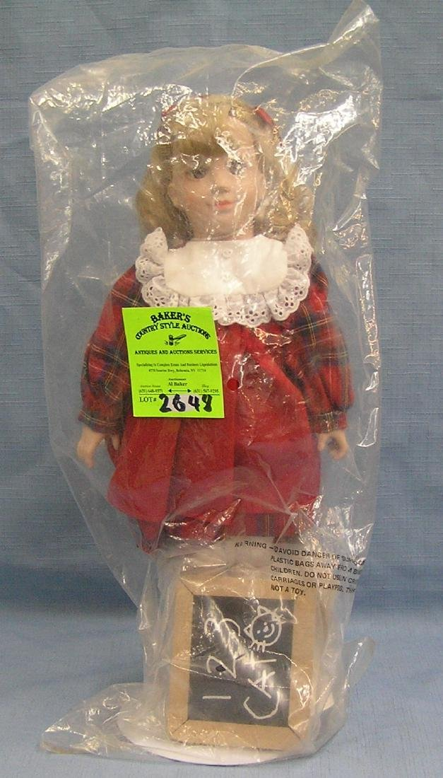 Vintage porcelain school girl doll w/chalk board