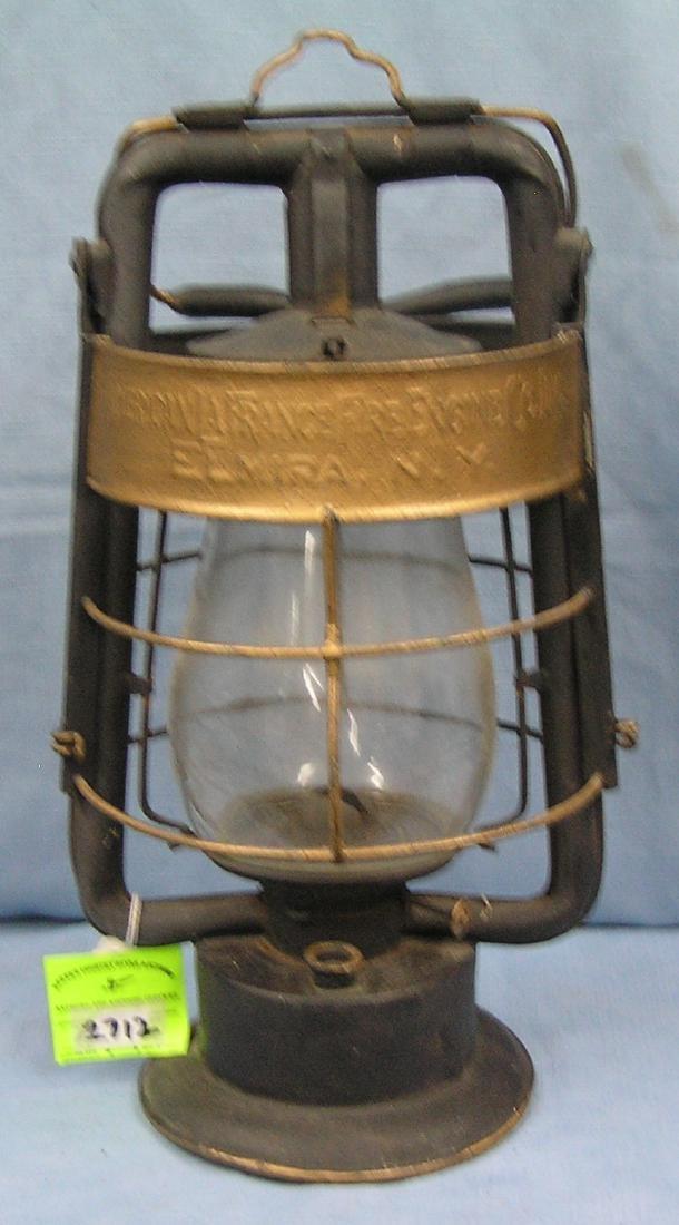 Antique LA France fire engine oil lantern