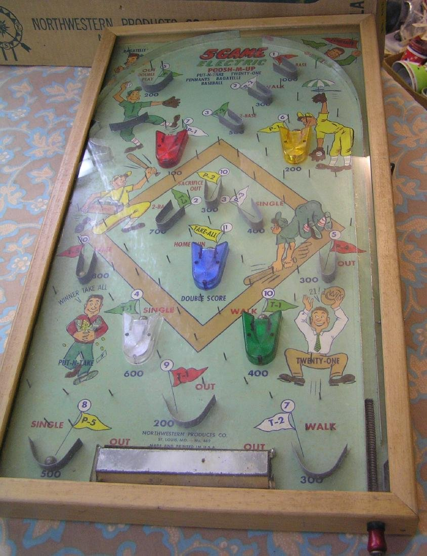 Five game electric Poosh-M-Up Bagatelle game