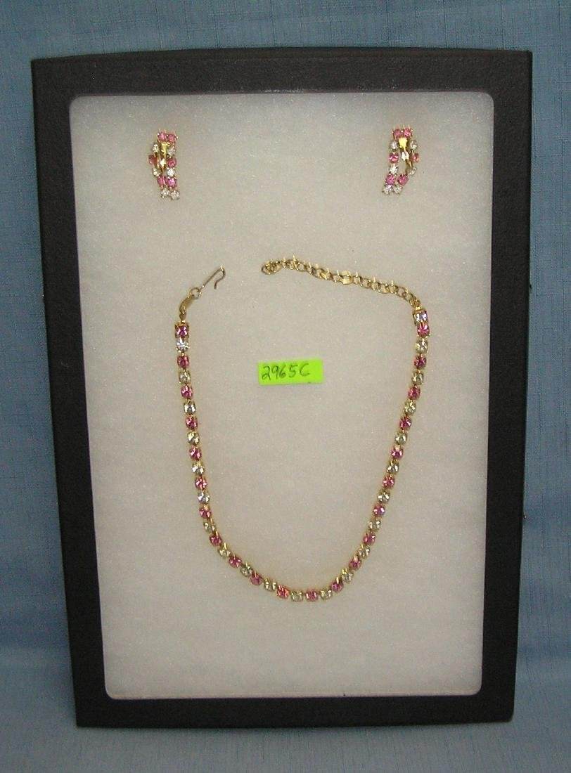 Trifari signed necklace and earring set