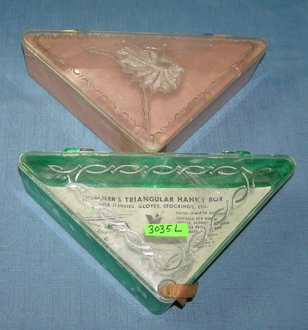 Pair of early Hommer's triangular hankie boxes