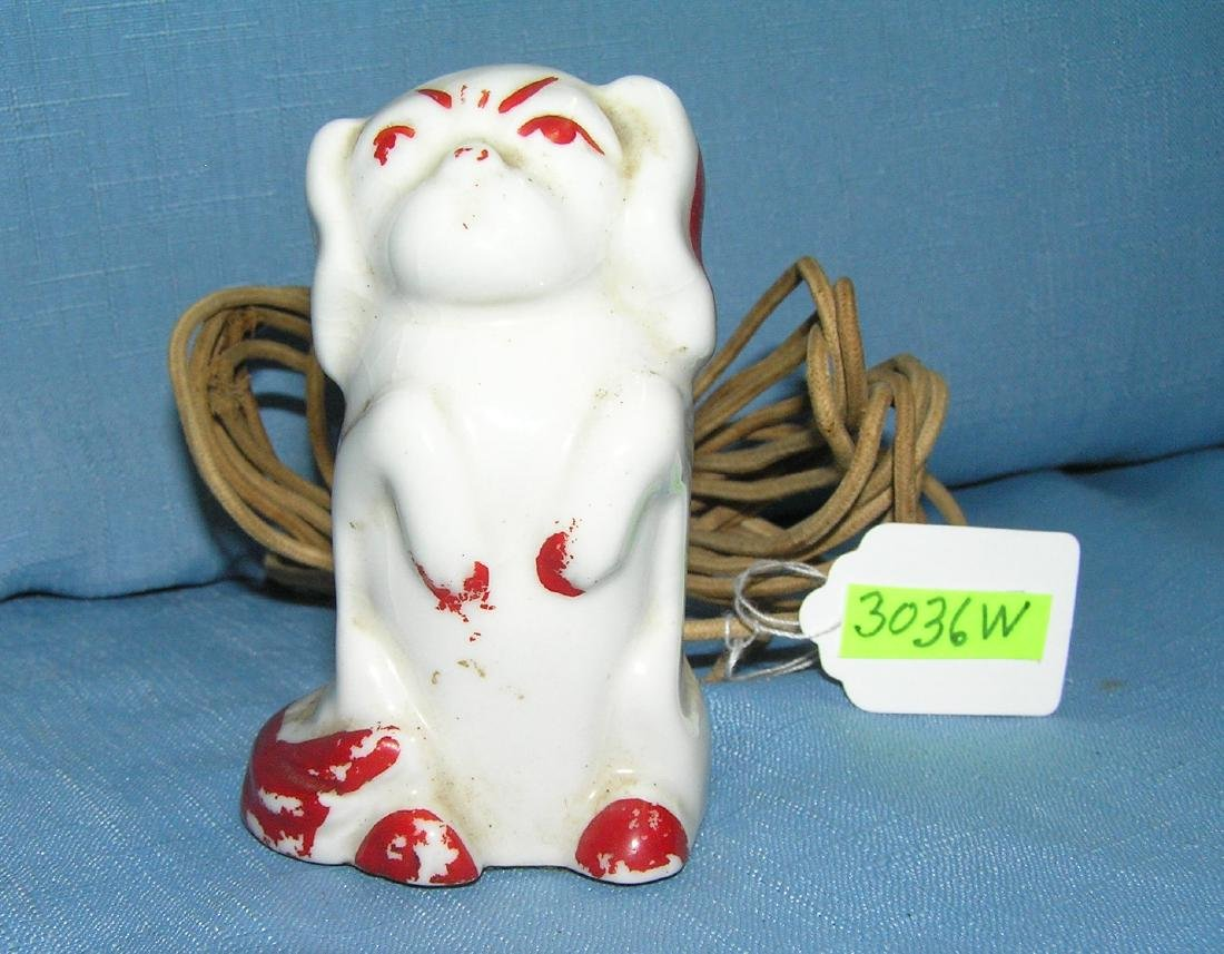 Antique Pekingese puppy 3 plug extension outlet