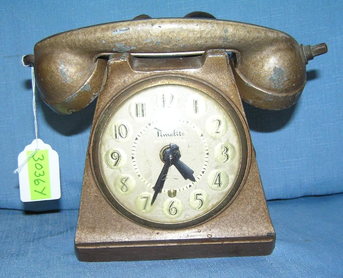 Figural telephone clock cigar or cigarette lighter