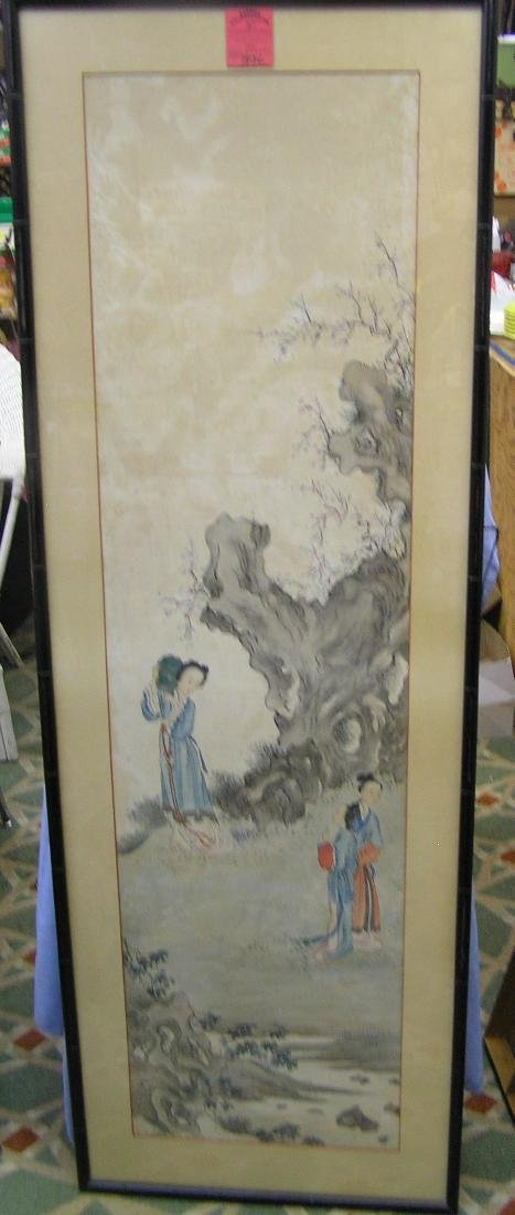 Large framed oriental water color painting