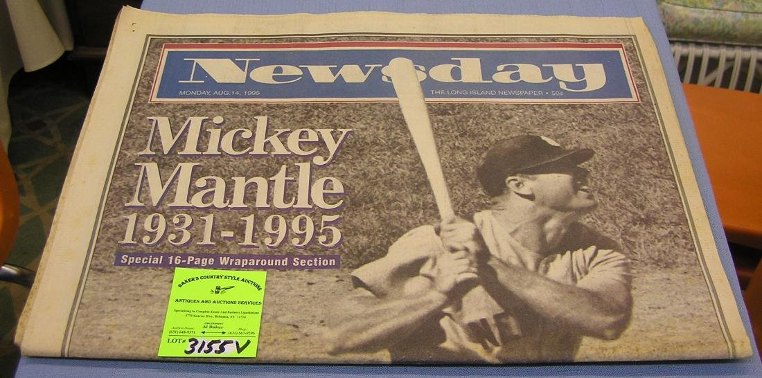 Vintage Mickey Mantle memorial newspaper