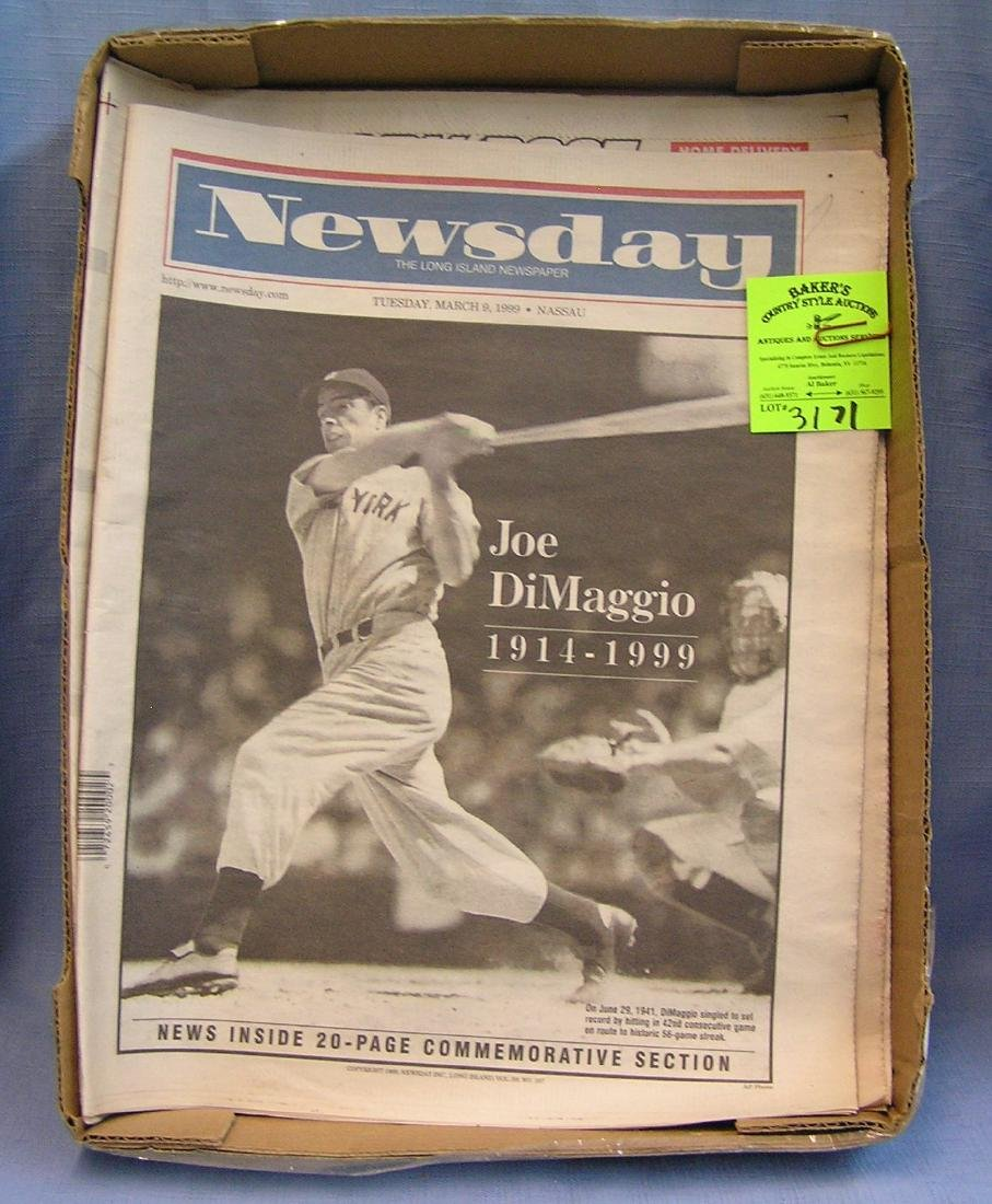 Group of vintage Joe DiMaggio newspapers