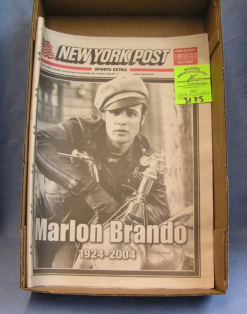Vintage Marlon Brando memorial newspaper
