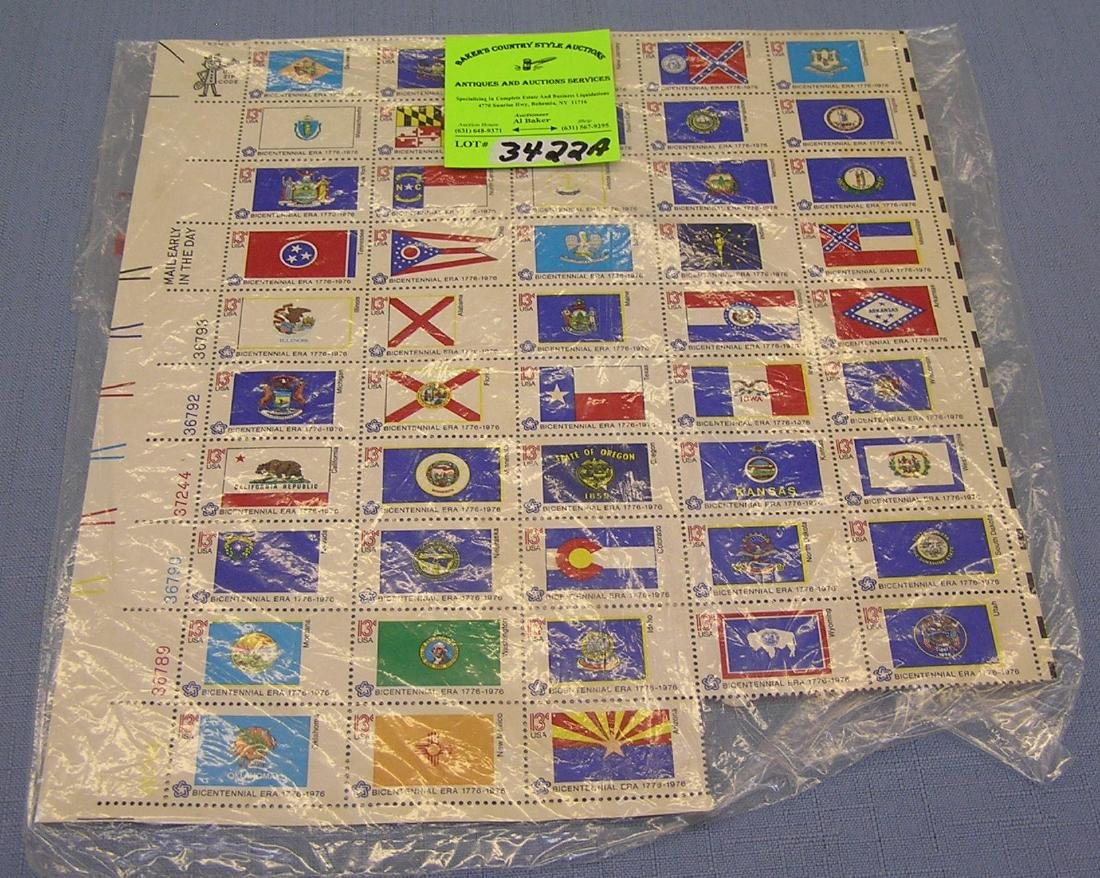 uncut sheet of Bicentennial state flags stamps