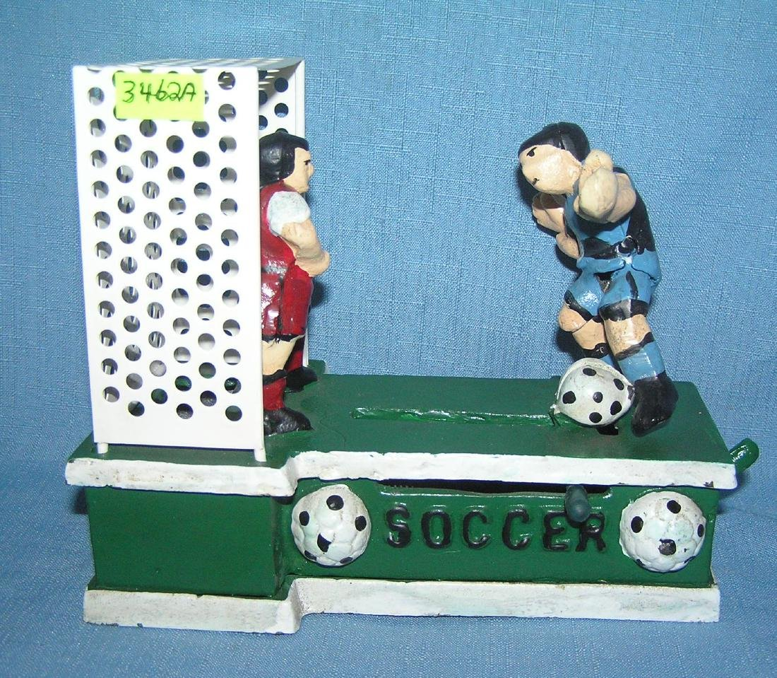 Vintage soccer cast iron mechanical bank
