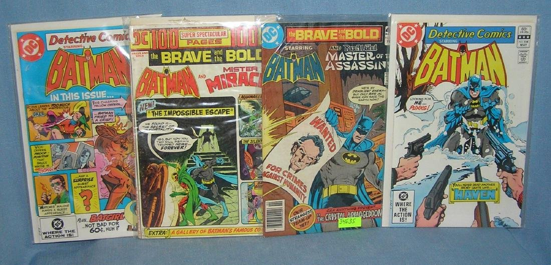 Group of vintage DC Batman comic books