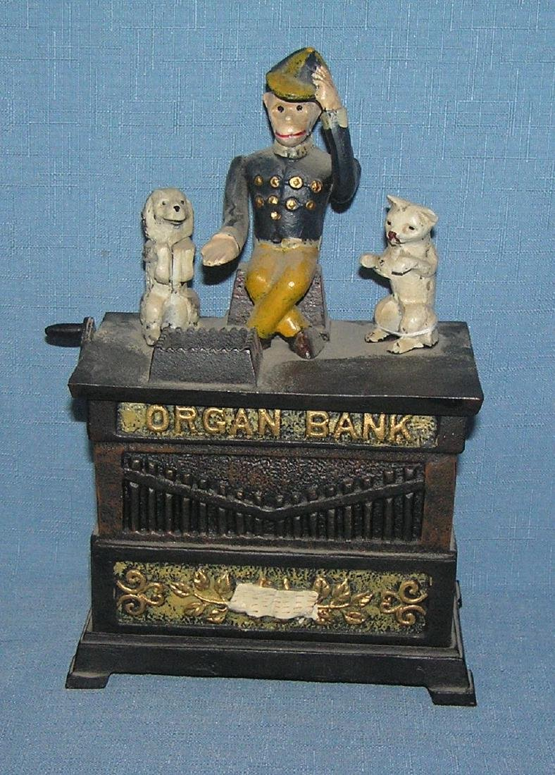Hand painted cast iron Organ mechanical bank