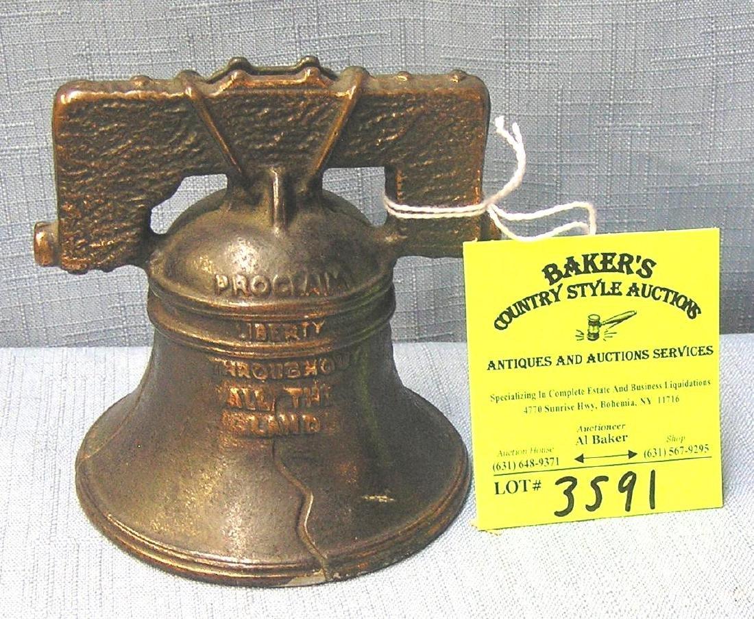Cast iron liberty bell bank