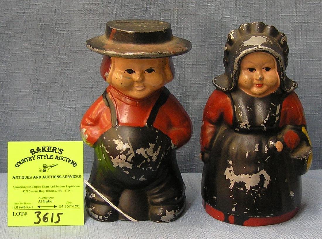 Vintage cast metal Amish couple bank