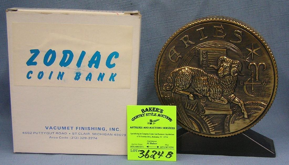 Vintage cast metal zodiac bank Aries