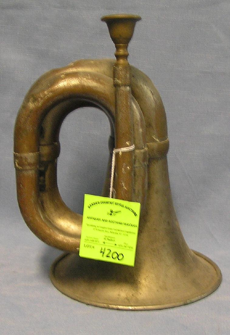 Antique chrome over solid brass unusual shaped bugle