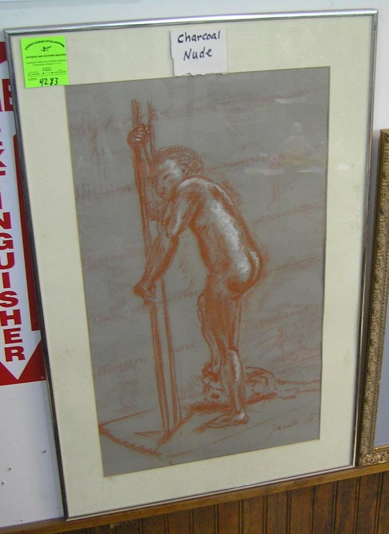 Vintage charcoal nude art work