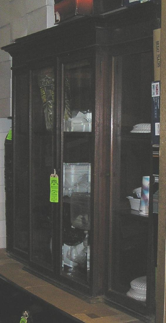 Large cherry mahogany four door storage cabinet