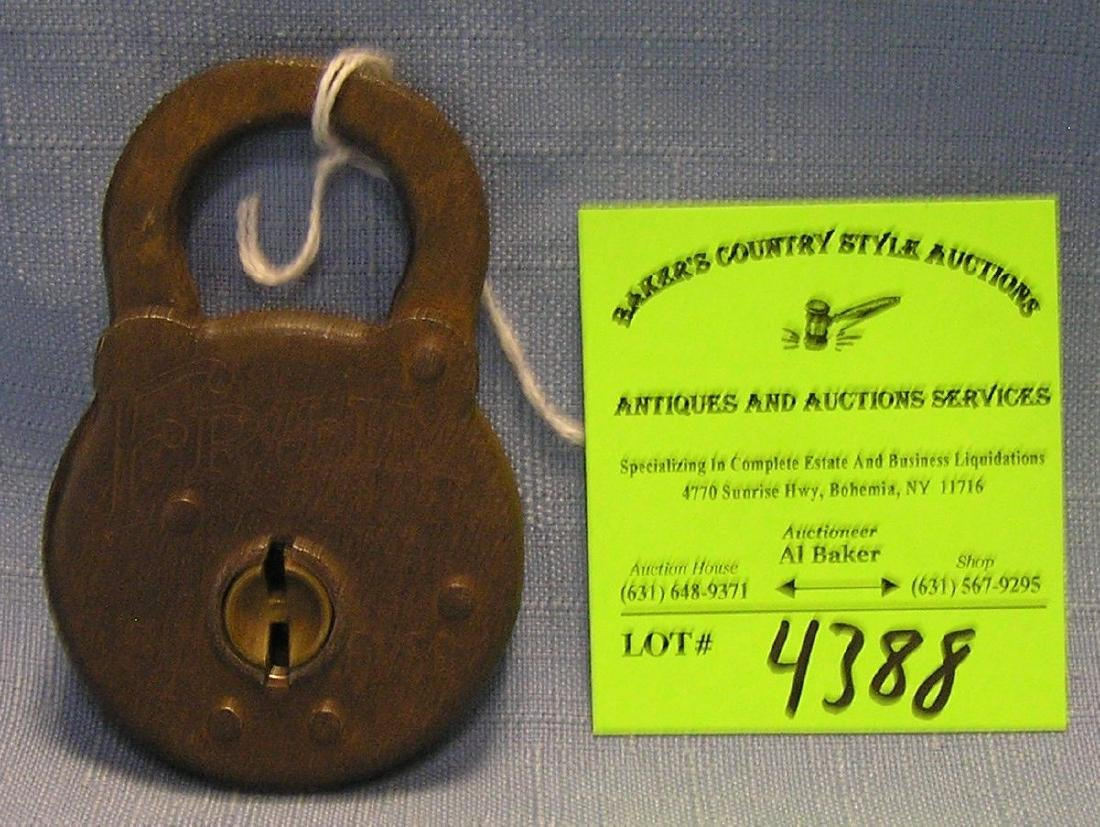 Antique cast iron padlock by fram six lever