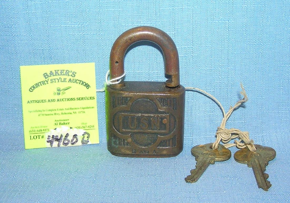 WWII US Navy solid brass pad lock