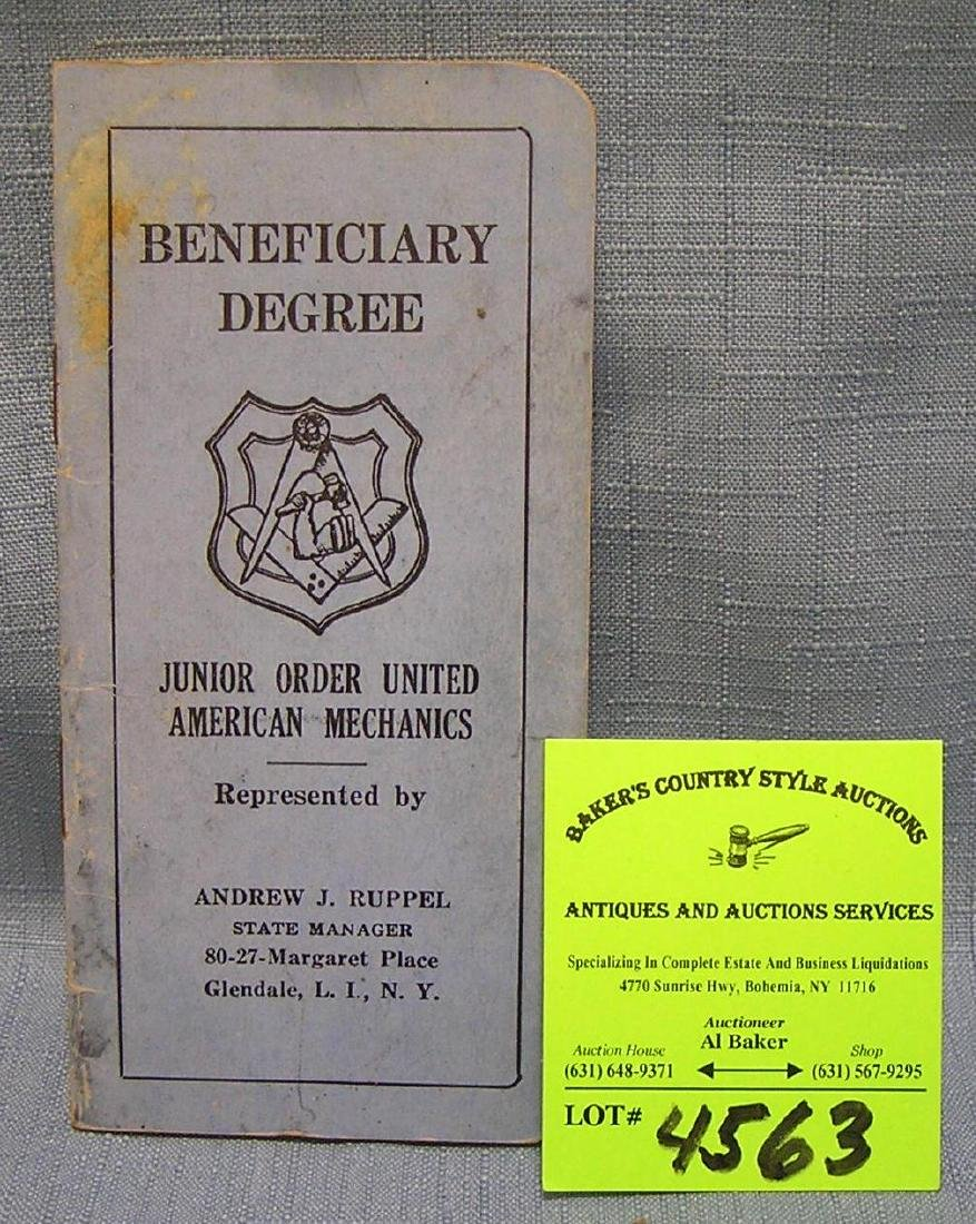 Order of the United American Mech. benefit booklet