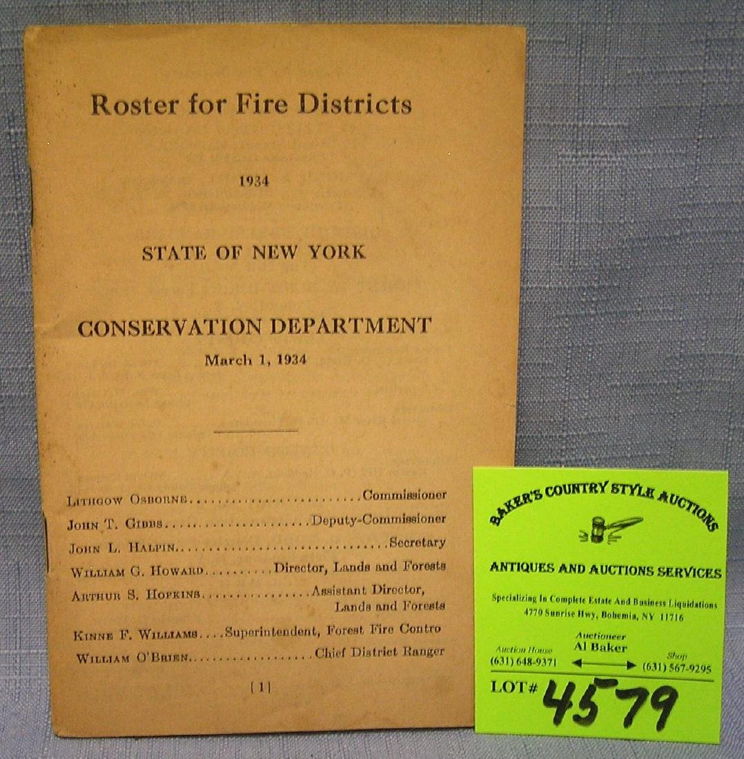 Roster of fire districts for 1934 state of NY