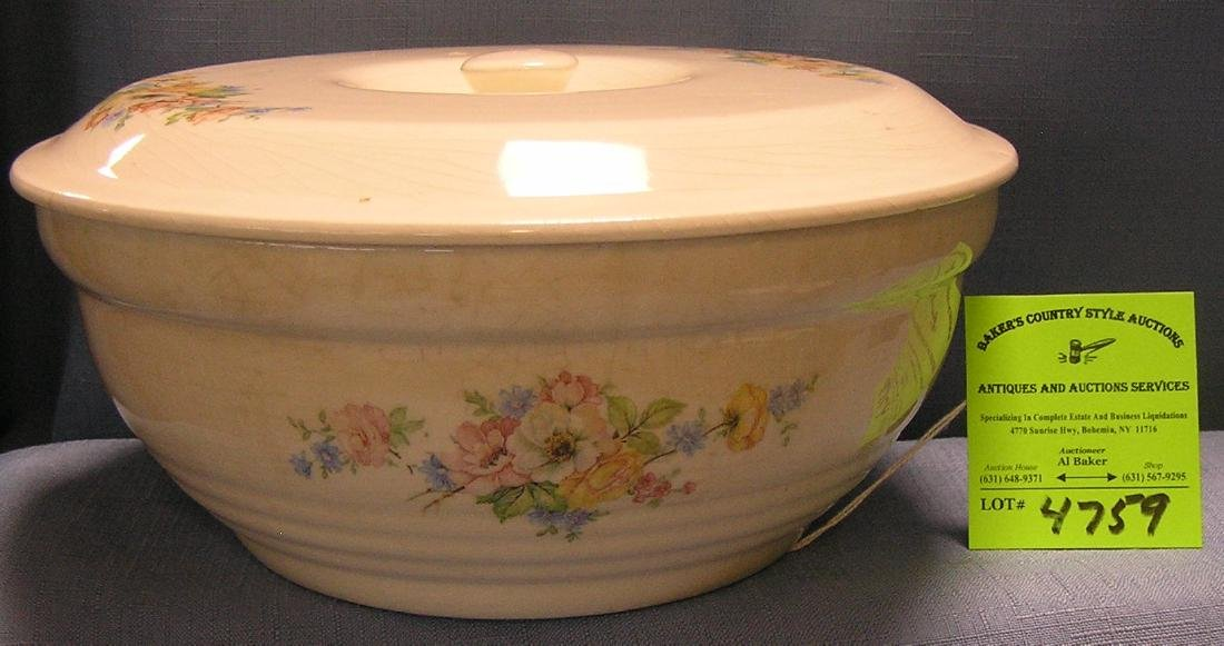 Floral decorated covered serving bowl
