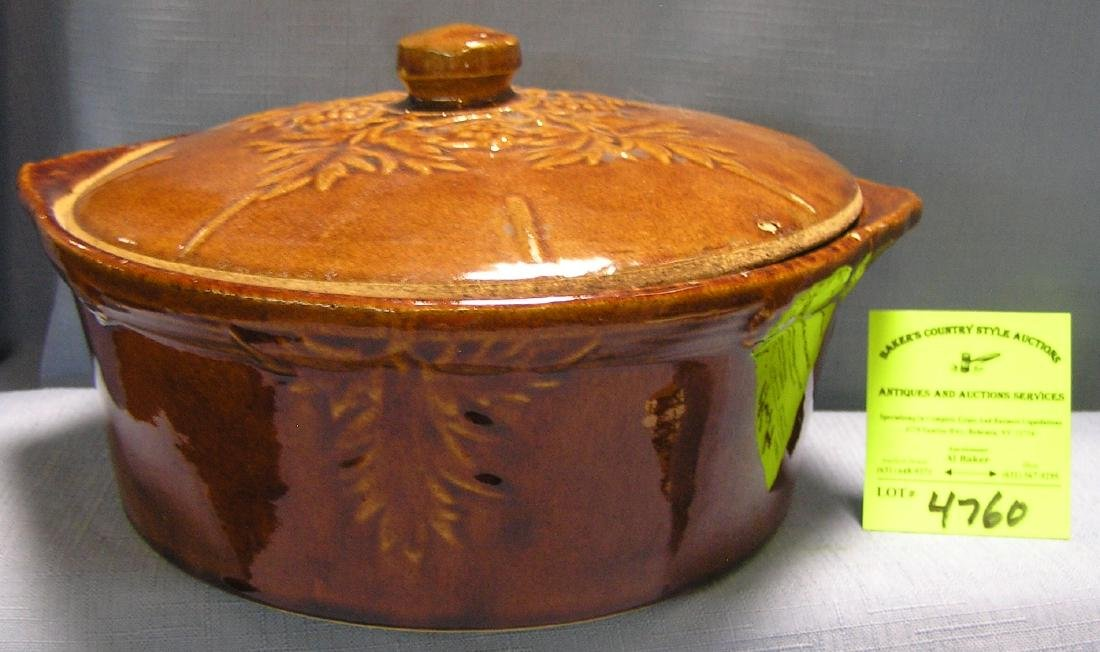 Early glazed over stone ware bowl with cover