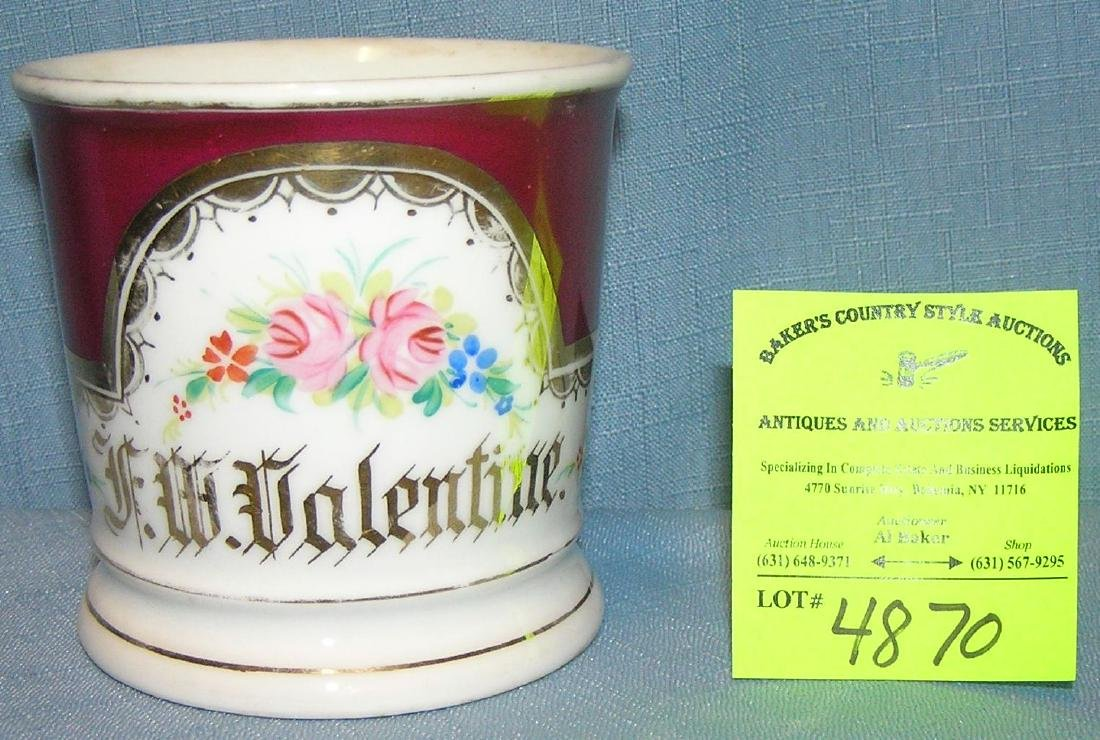 Antique shaving mug for F.W. Valentine