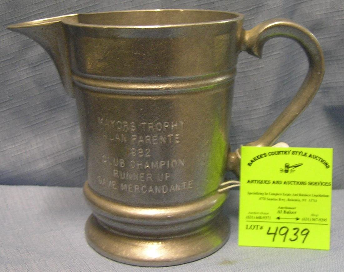 Vintage all cast aluminum whiskey water pitcher