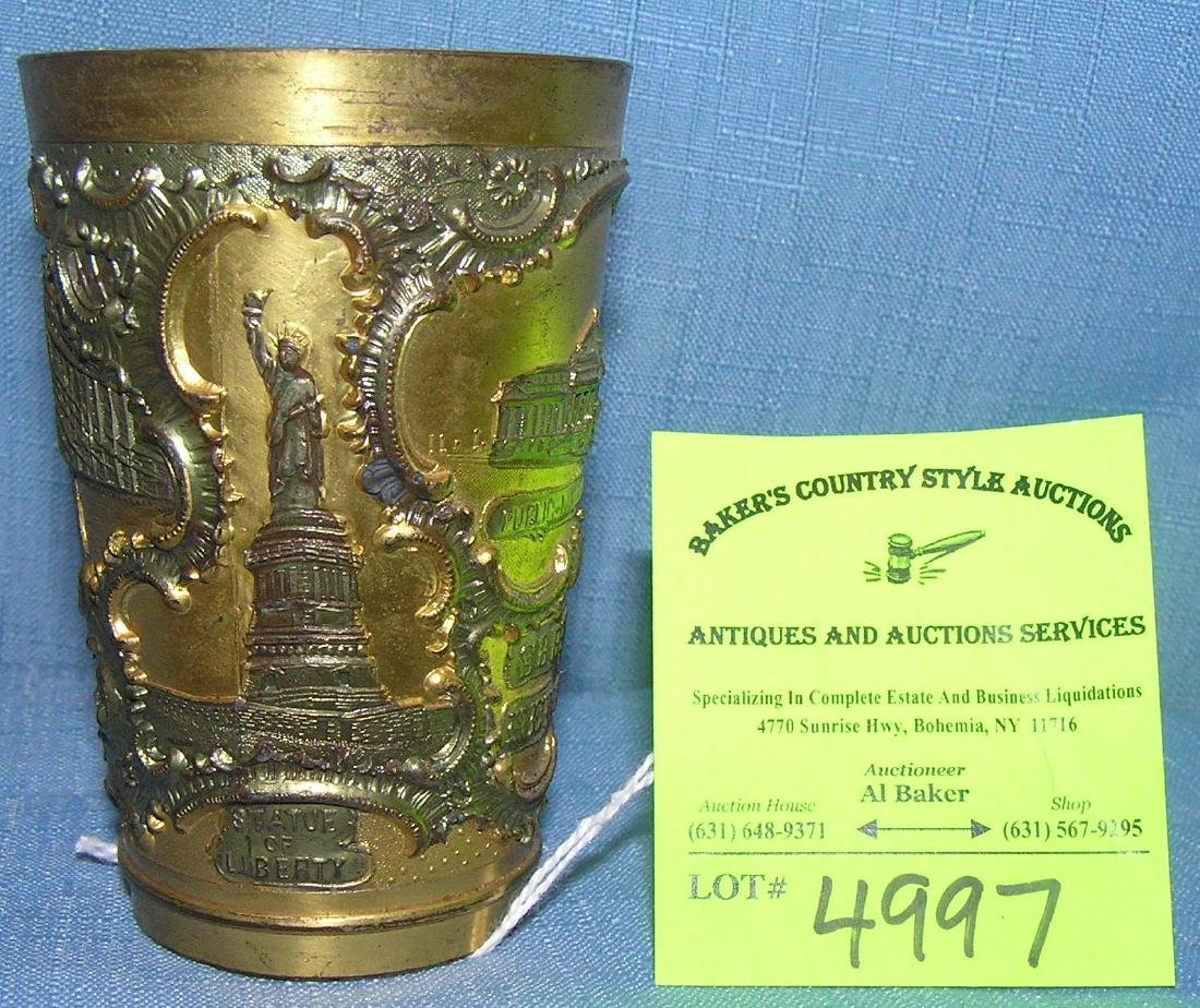 Early Pewter souvenir of NY drink cup