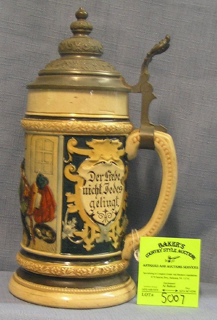 Early German Beer stein with pewter lid