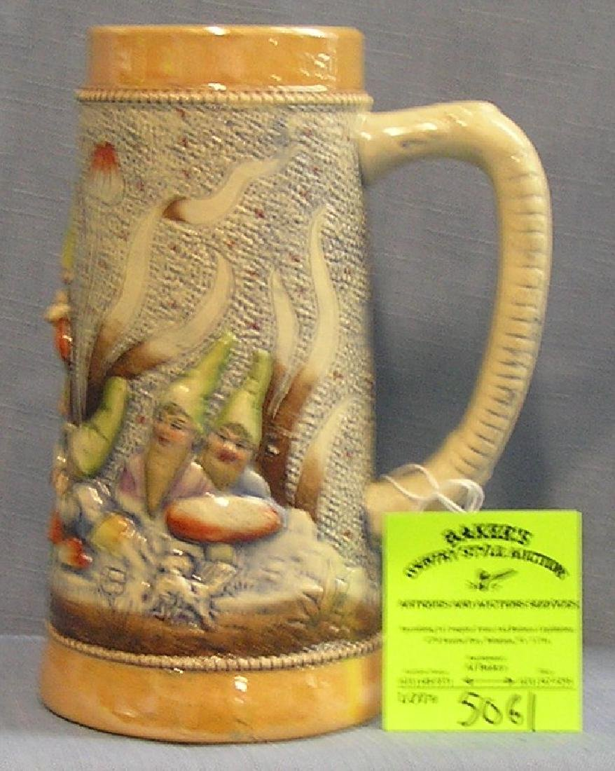 Early German Beer stein featuring Gnomes