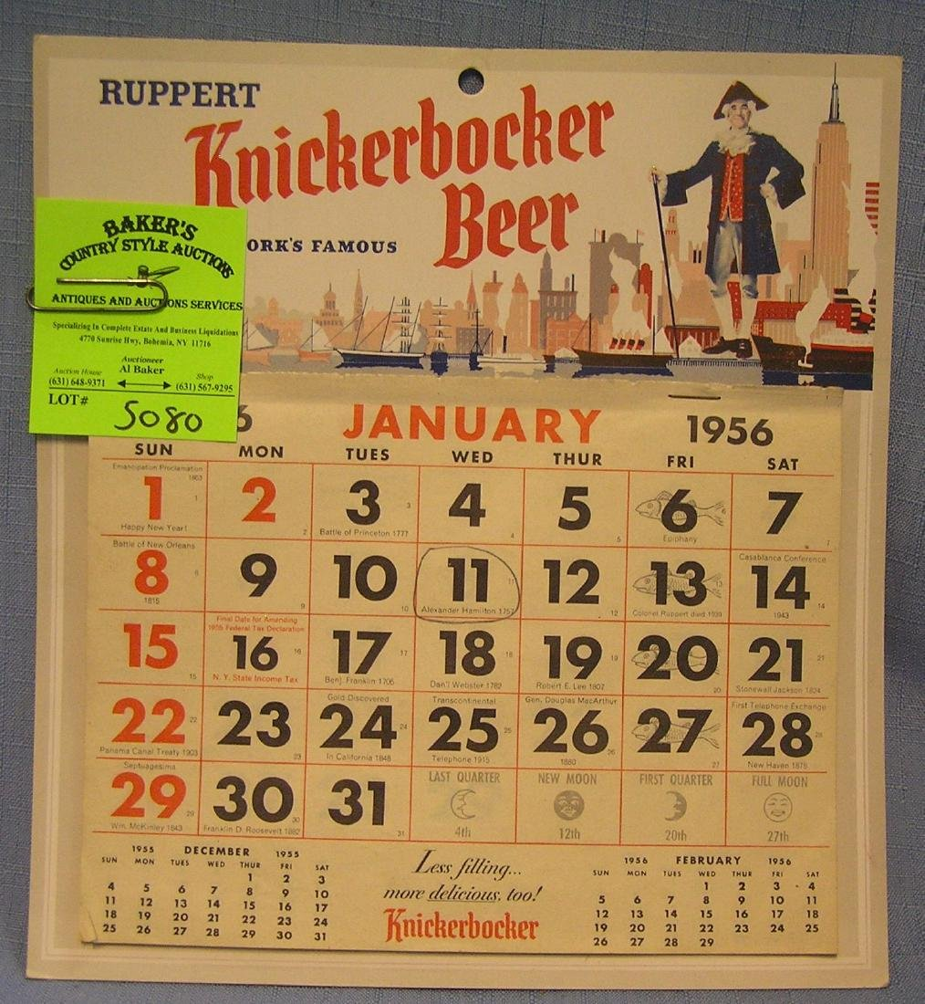 Early Knickerbocker beer advertising calendar