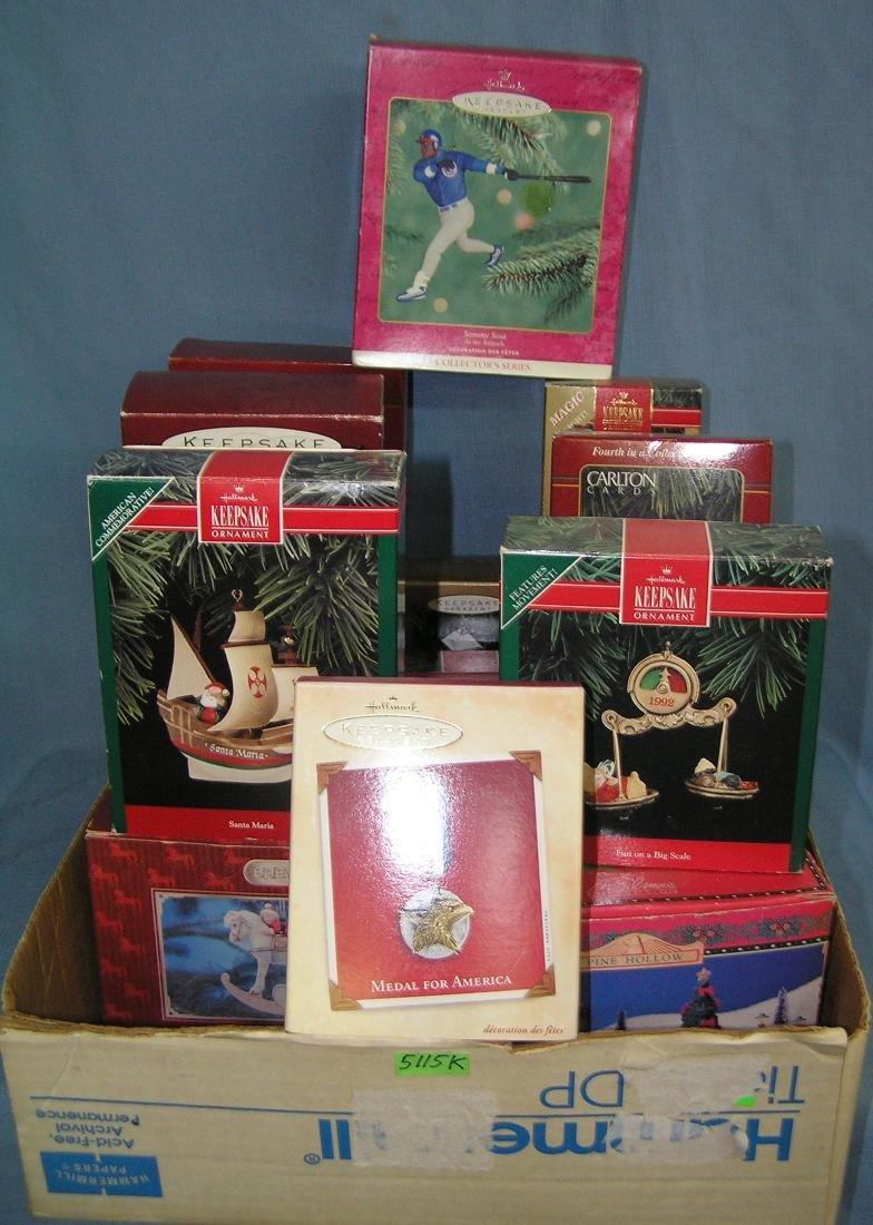 Box full of vintage Hallmark Christmas ornaments