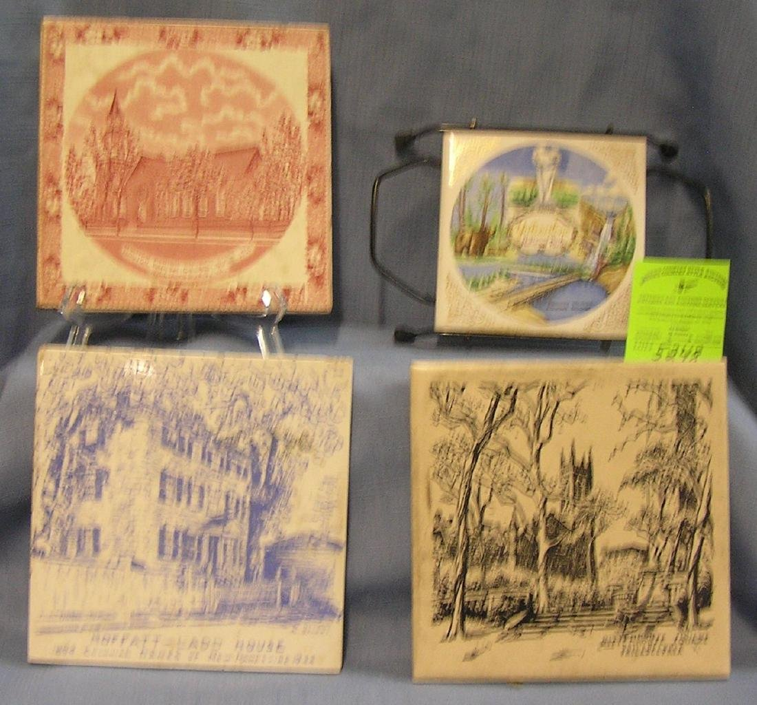 Group of early and vintage souvenir tiles