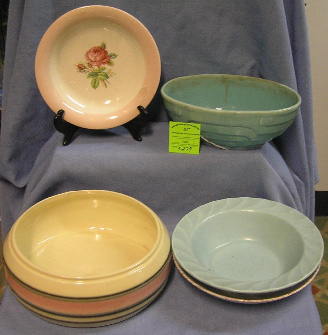 Group of five art pottery bowls and more