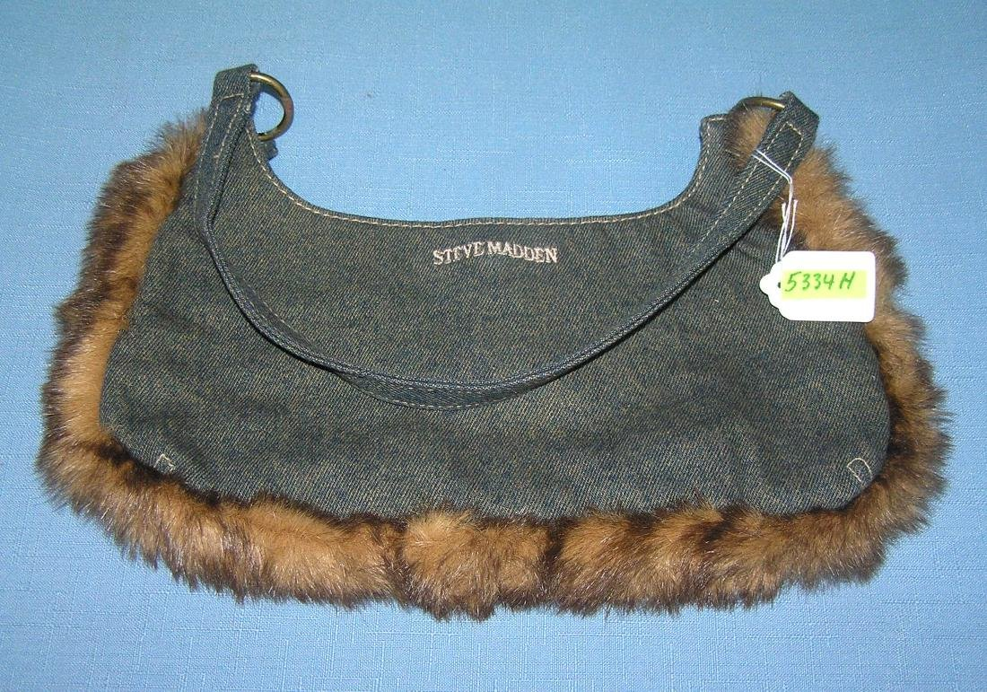 Steve Madden denim and fur decorated purse