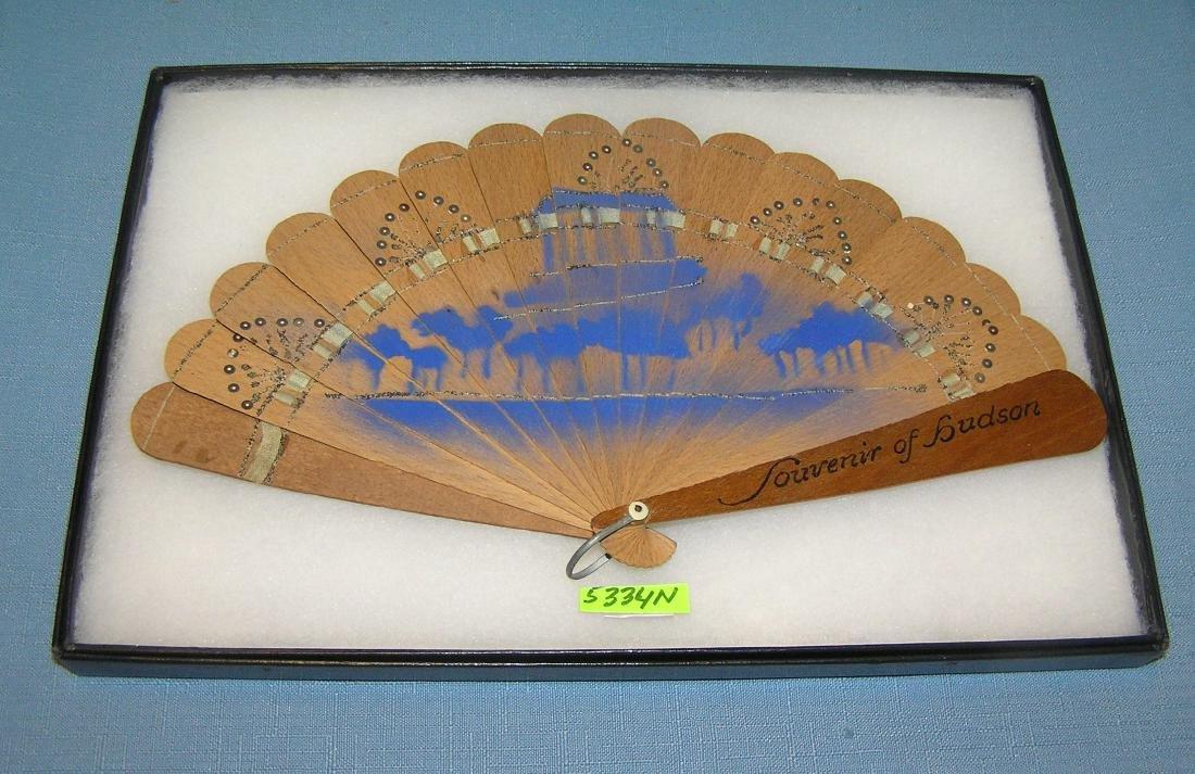 Antique souvenir wooden fan