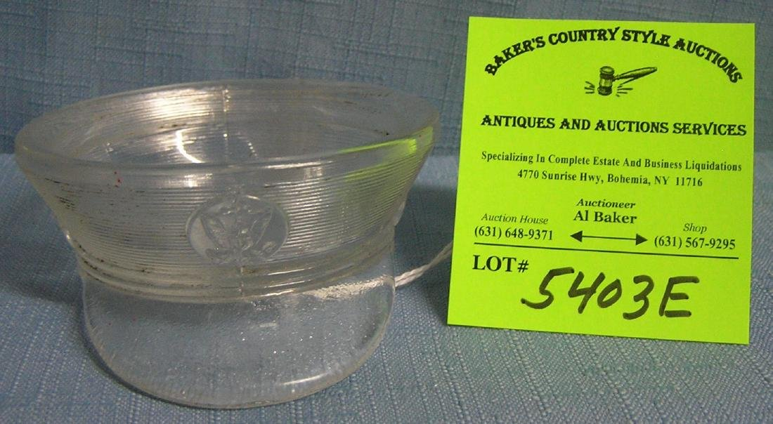 Antique glass WWII officers hat candy container