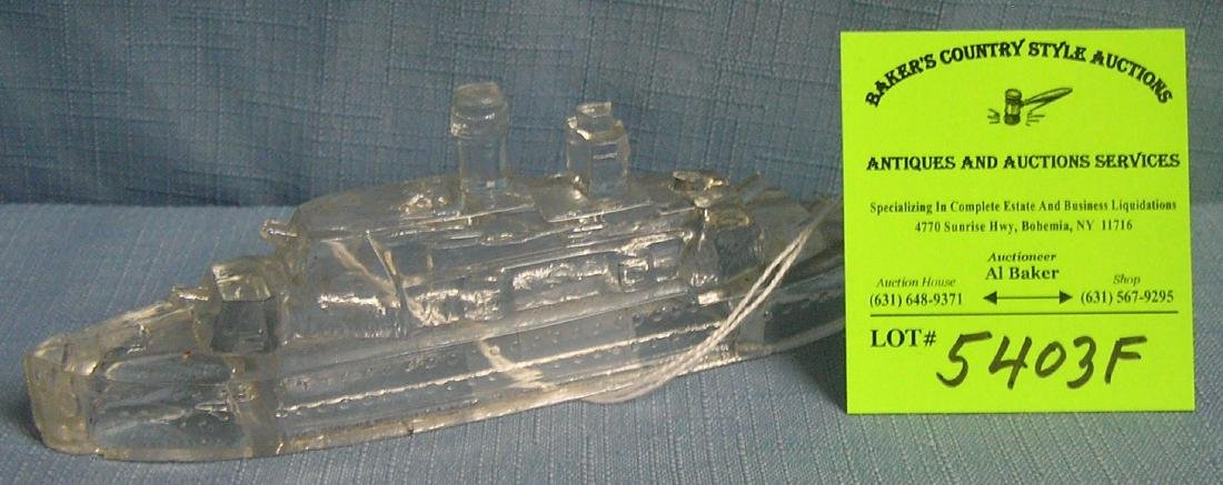 Early glass ocean liner candy container