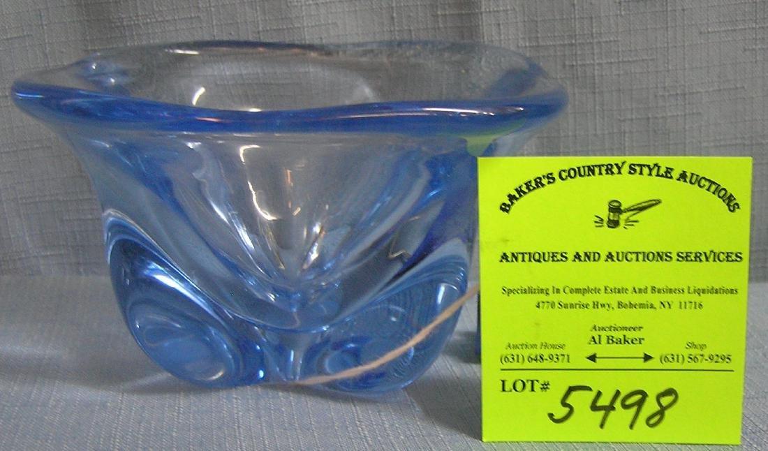 High quality blue art glass bowl