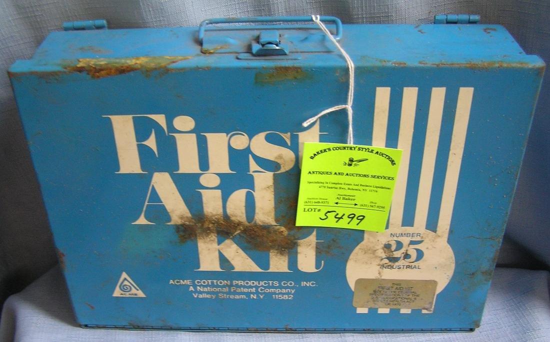 Vintage first aid kit complete in metal