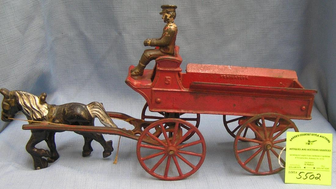 Horse drawn delivery wagon, Kenton toys ca 1880's