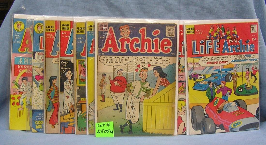 Large group of early Archie comic books