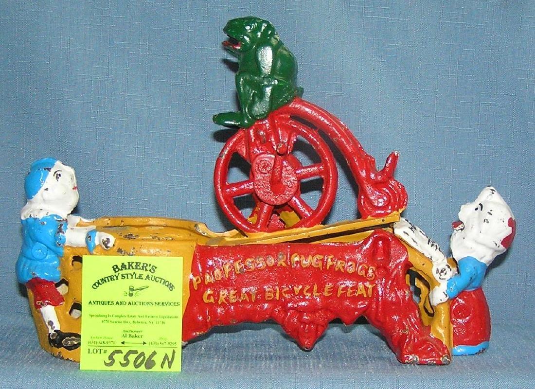 Vintage cast iron Professor PugFrog bank