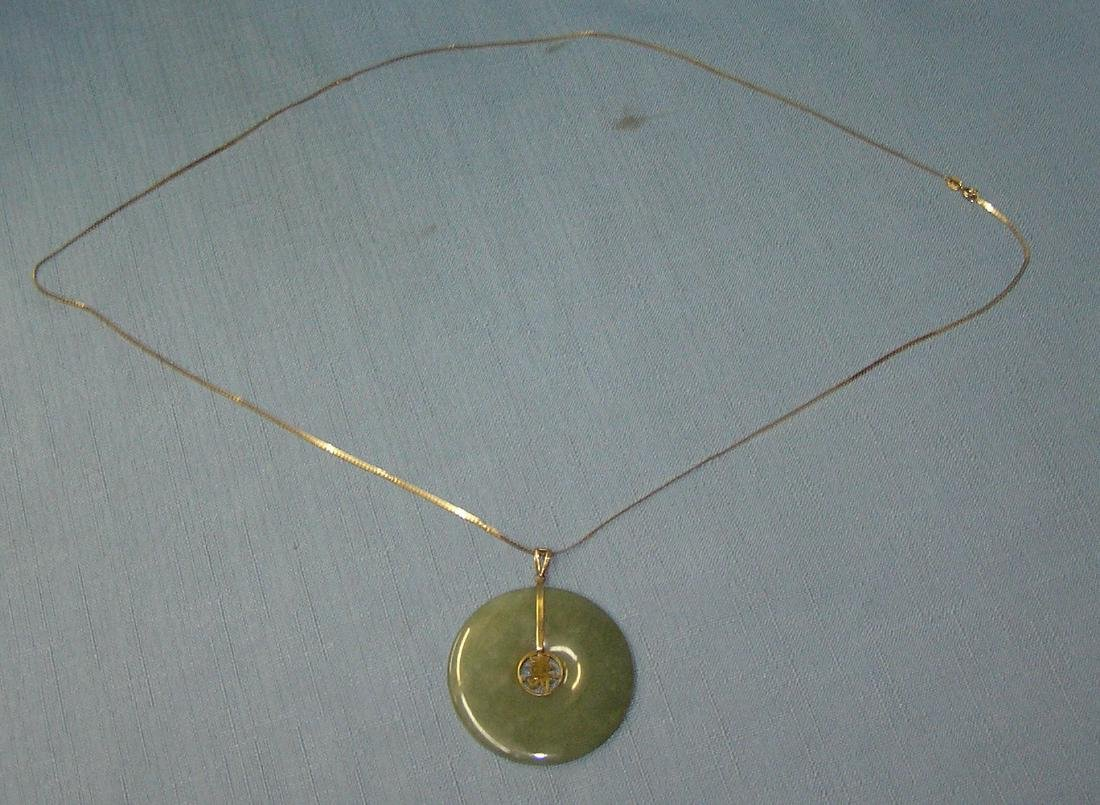 Antique Asian themed 14K gold & jade necklace